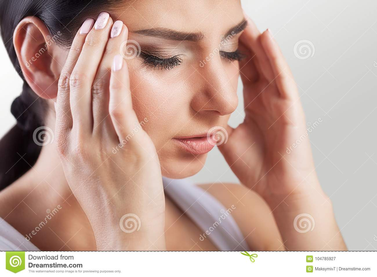Headache And Stress Beautiful Young Woman Feeling Strong Head P