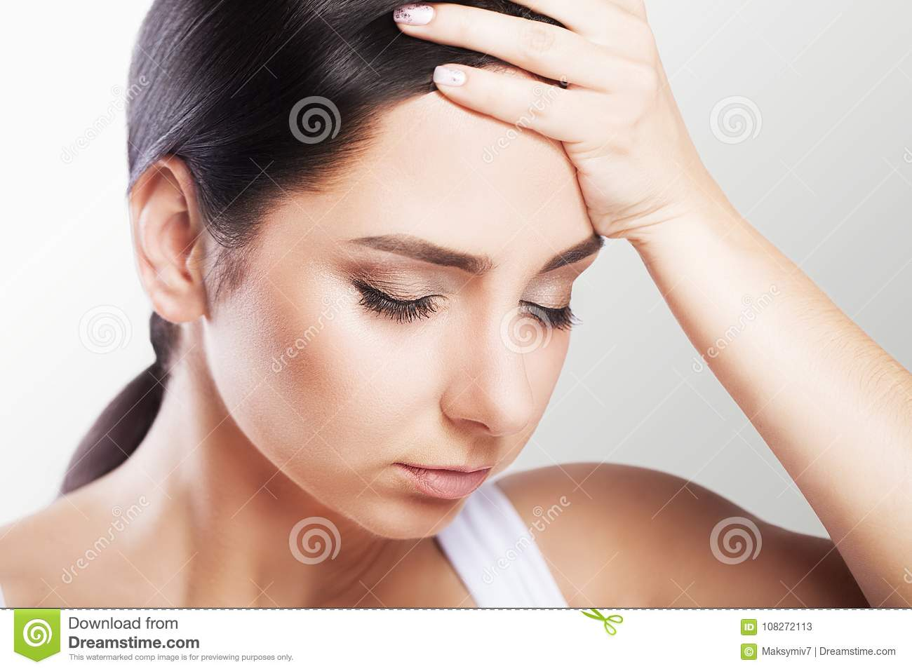 Headache And Stress Beautiful Young Woman Feeling Strong Head Pain