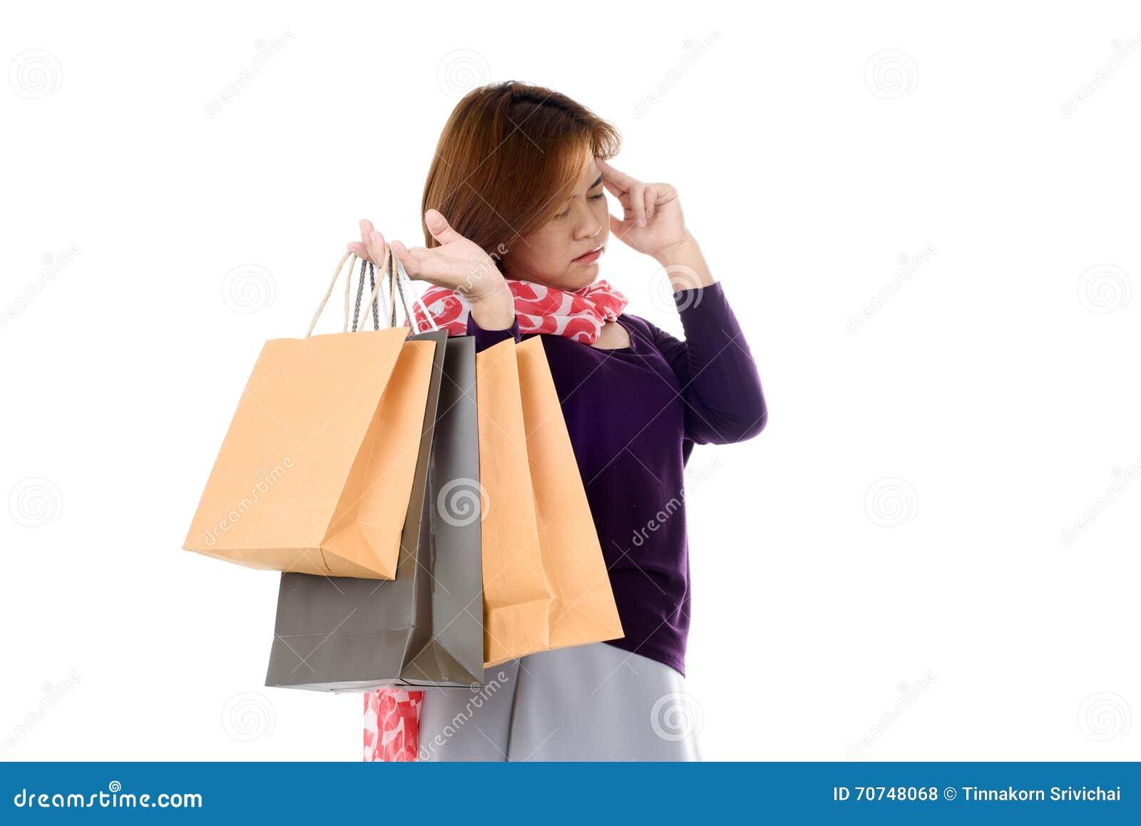 Headache Woman holding few shopping bags