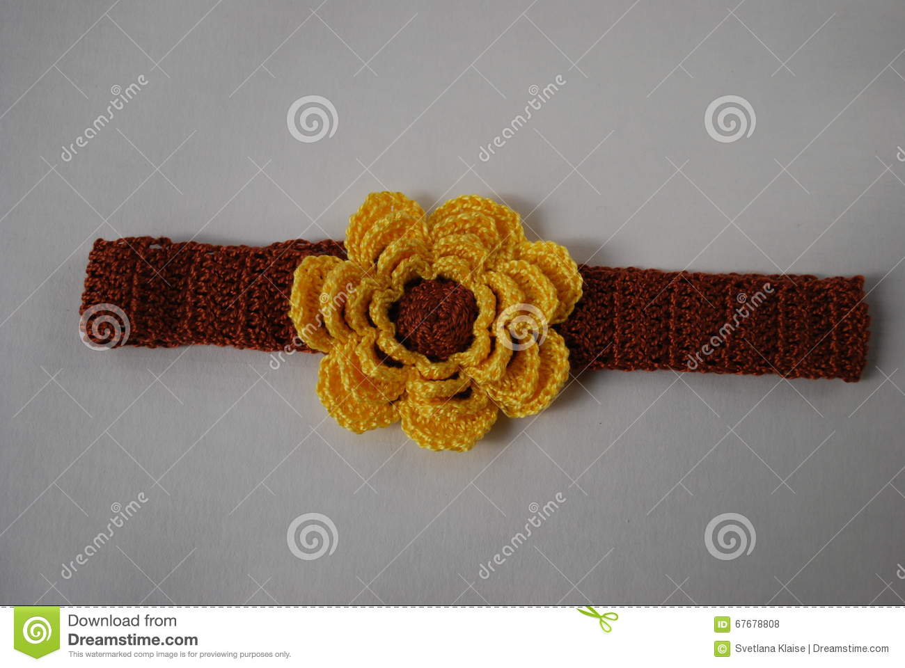 Headband Brown With Yellow Flower Stock Photo Image Of Cotton