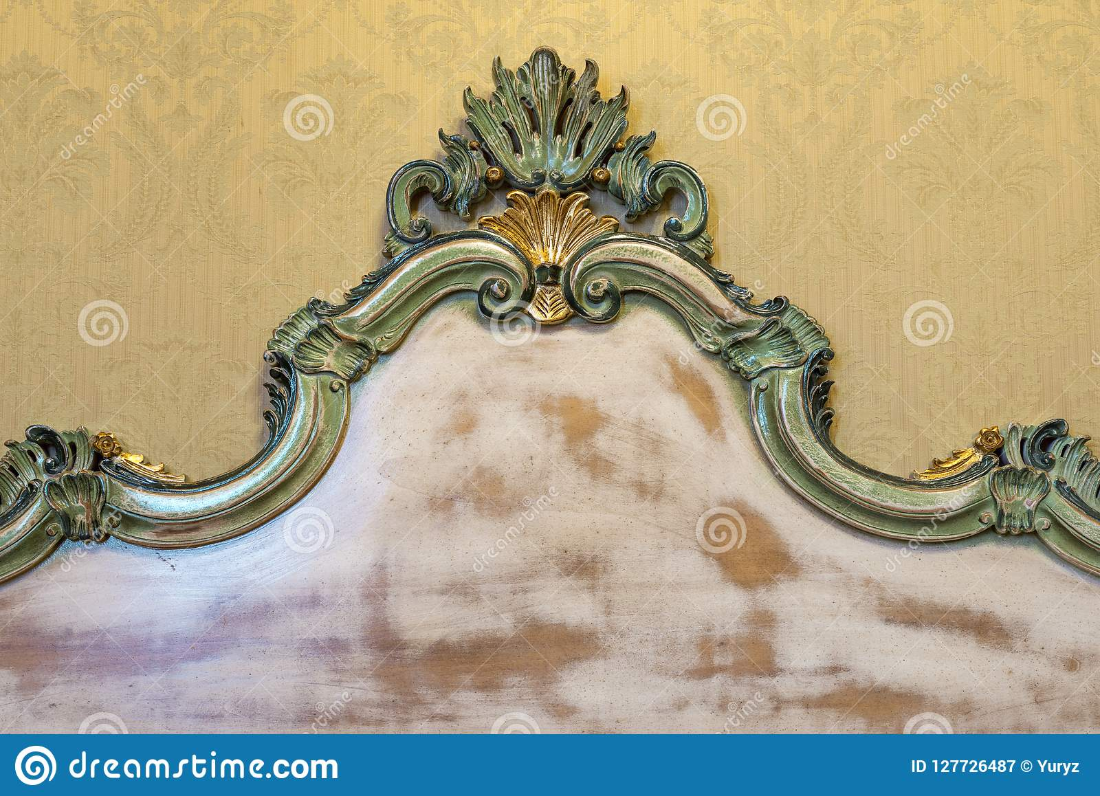 Headboard Of Vintage Bed Stock Image Image Of Paint 127726487