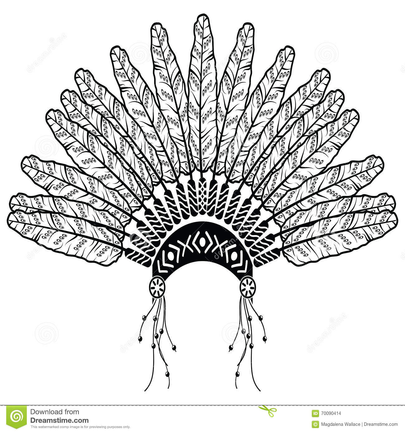 Native american ornaments - Headdress In Aztec Style Symbolizing Native American People In Black And White In Drawing Style With