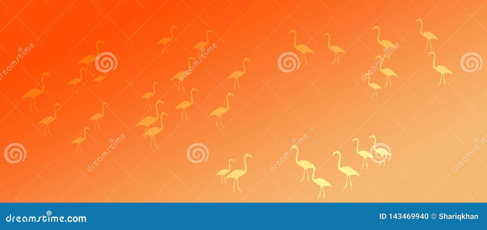 Header Background Orange Yellow Gradient Flamingo Birds