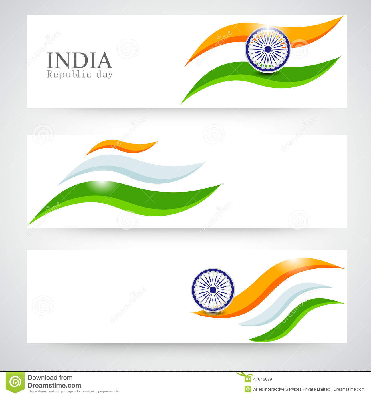 Colors website ashoka - Header Or Banner Set For Indian Republic Day Celebration Royalty Free Stock Images