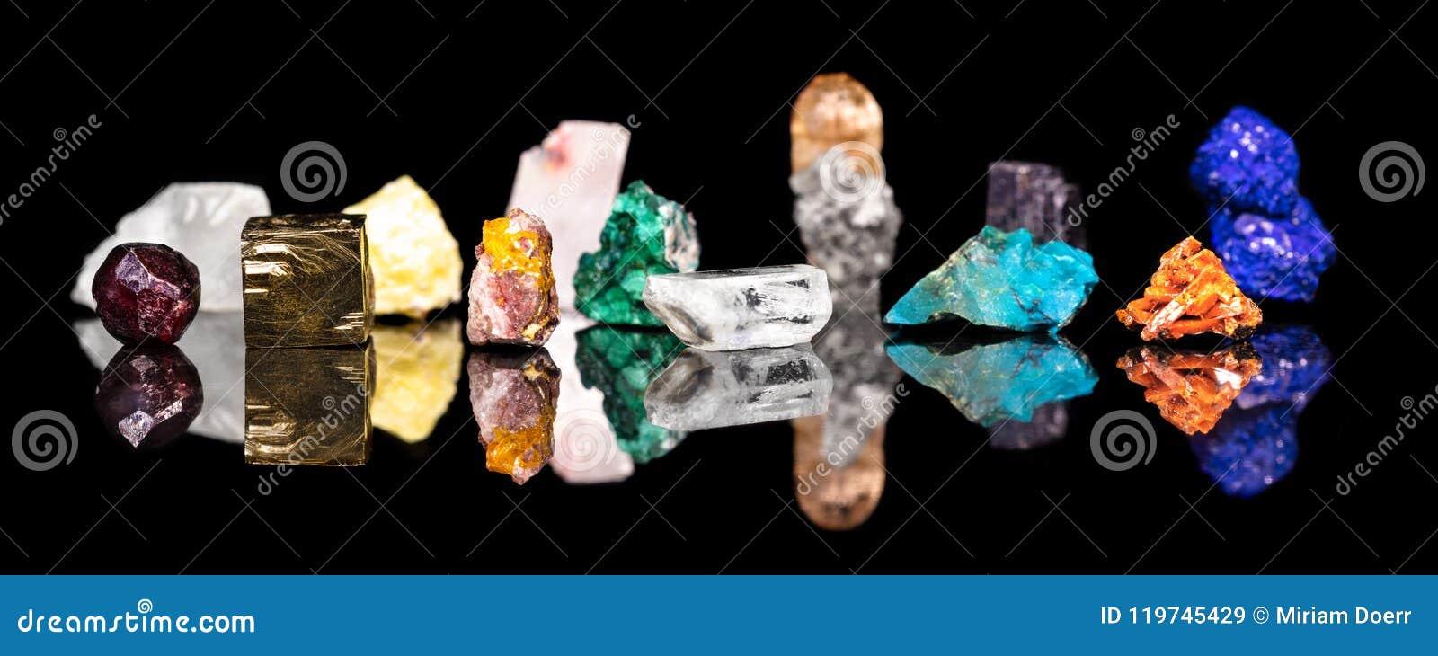 Header, variety of mineral gemstones and healing stones, natural