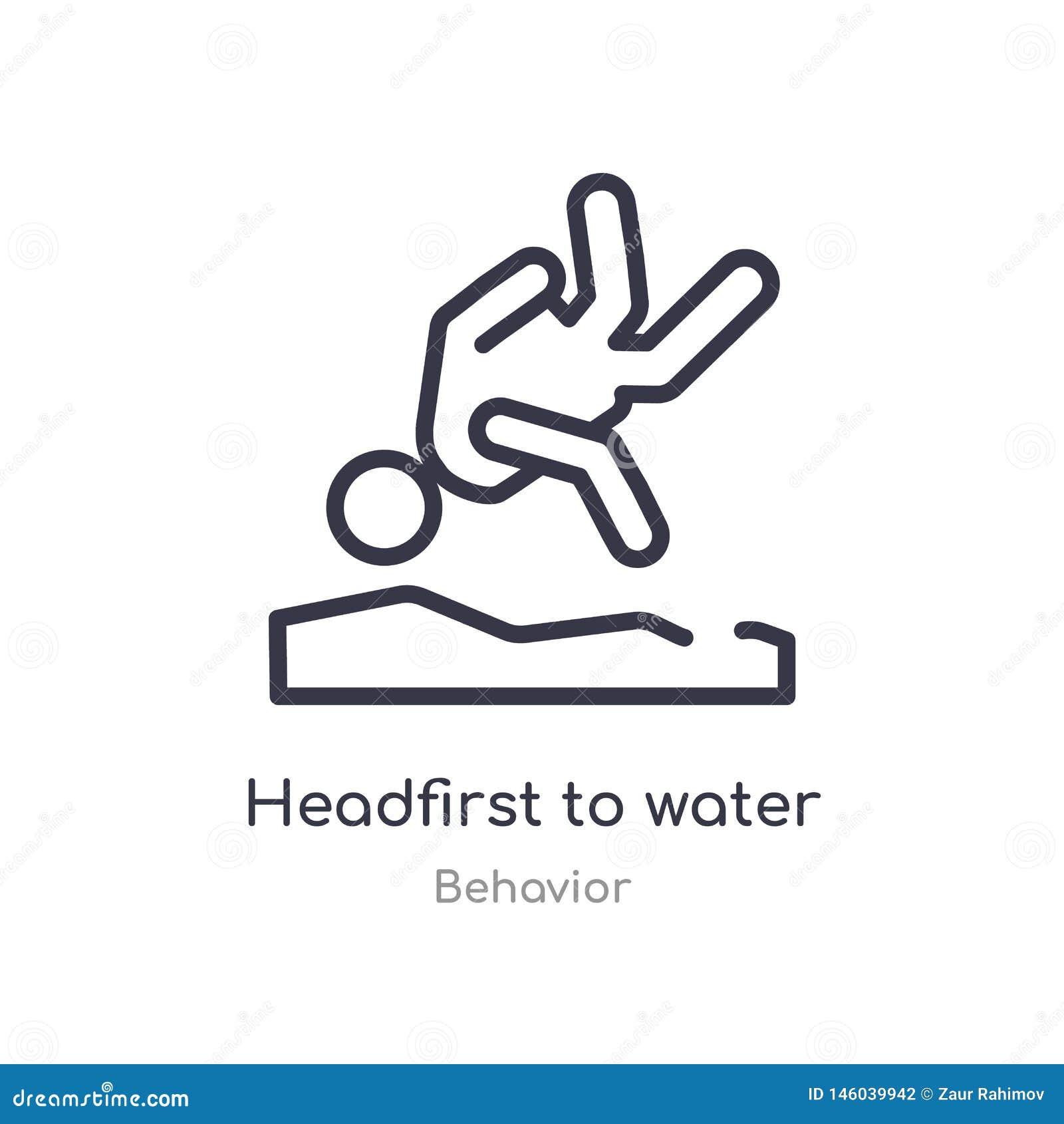 Headfirst nawadniać kontur ikonę odosobniona kreskowa wektorowa ilustracja od zachowanie kolekcji editable cienieje uderzenia hea