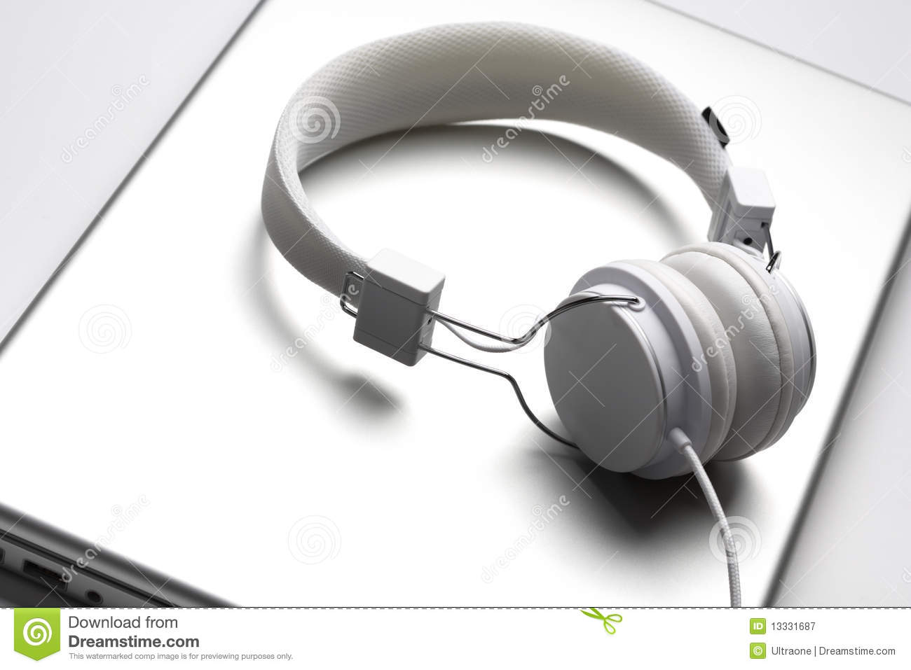 Headfones laptopu biel
