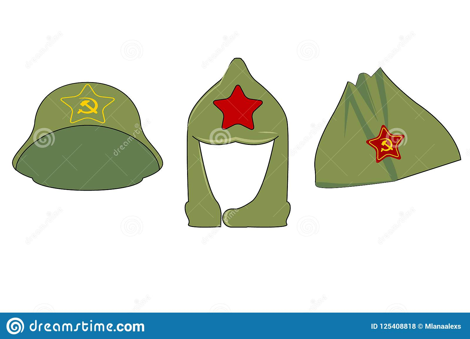 Headgear In The Era Of The Soviet Union 3 Caps With The Symbols Of