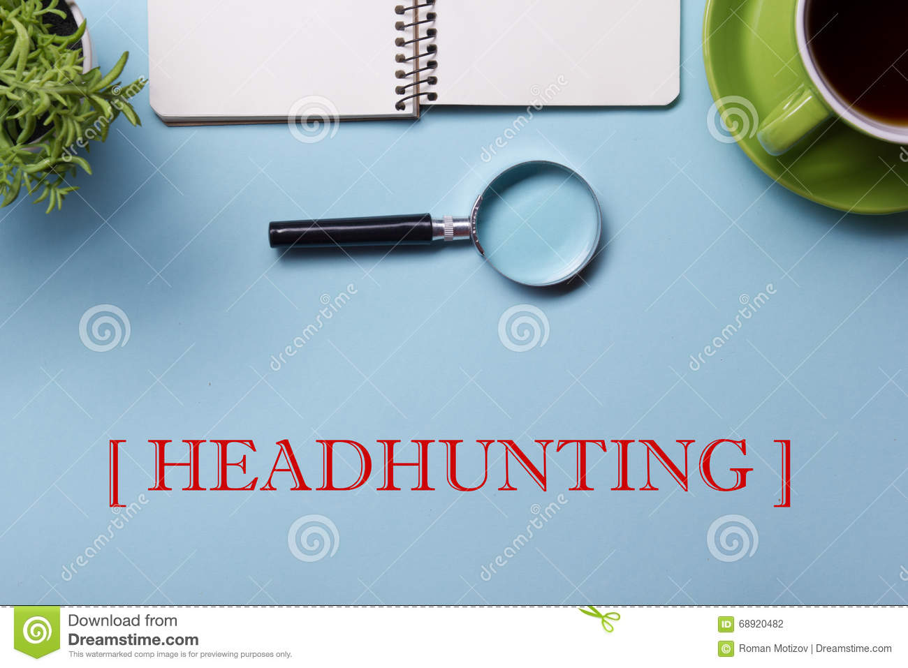 headhunting stock illustration image  headhunting hiring hr human resources position concept office supplies on desk table top view