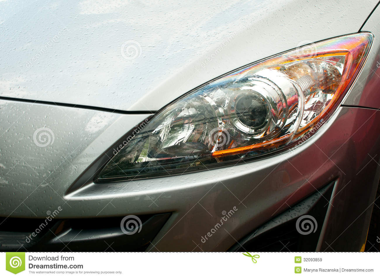 Truck Headlights In Rain : Headlight of grey car royalty free stock images image