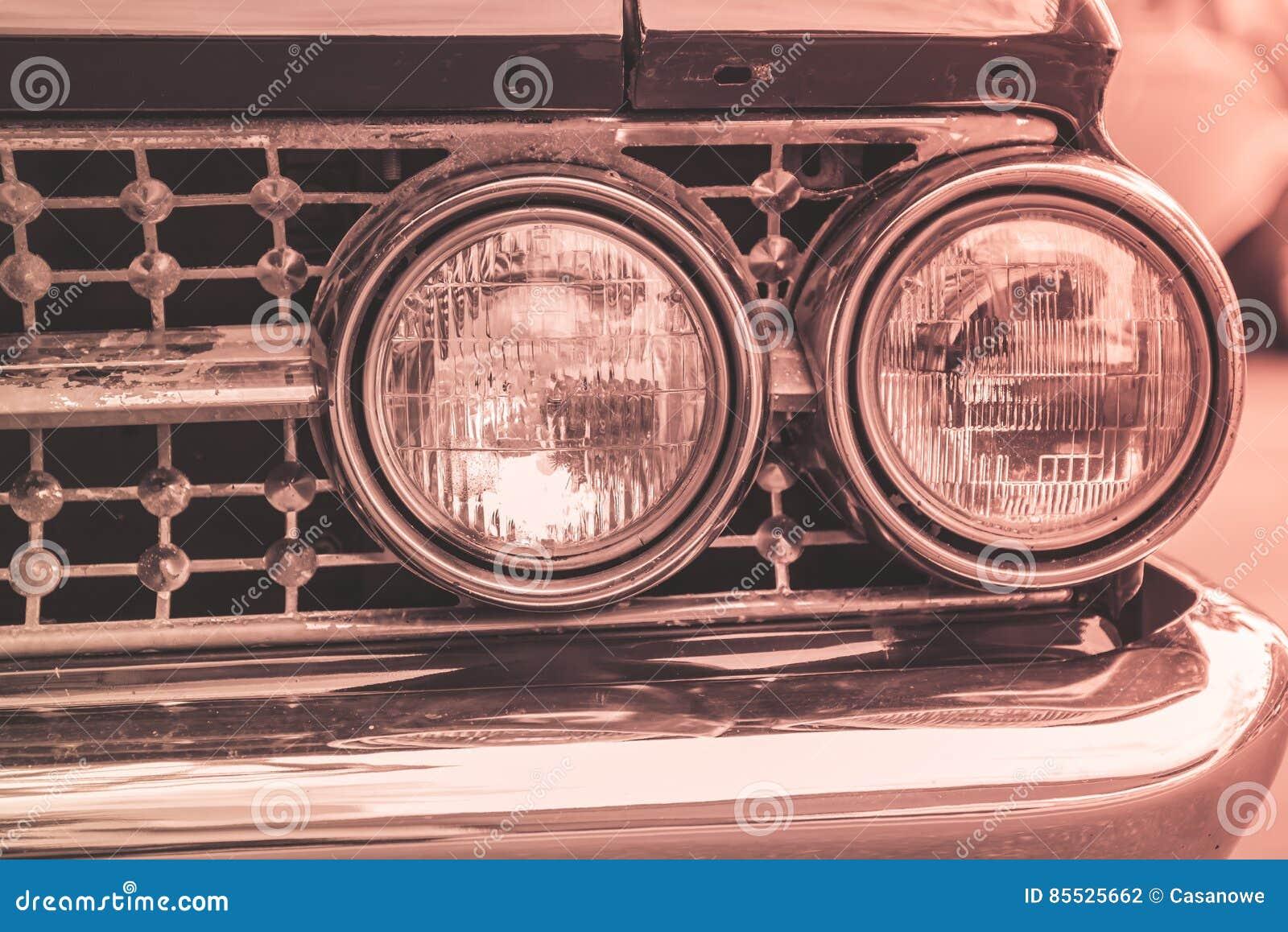 Vintage Auto Headlight Styles : Headlight lamp of retro classic car vintage style stock