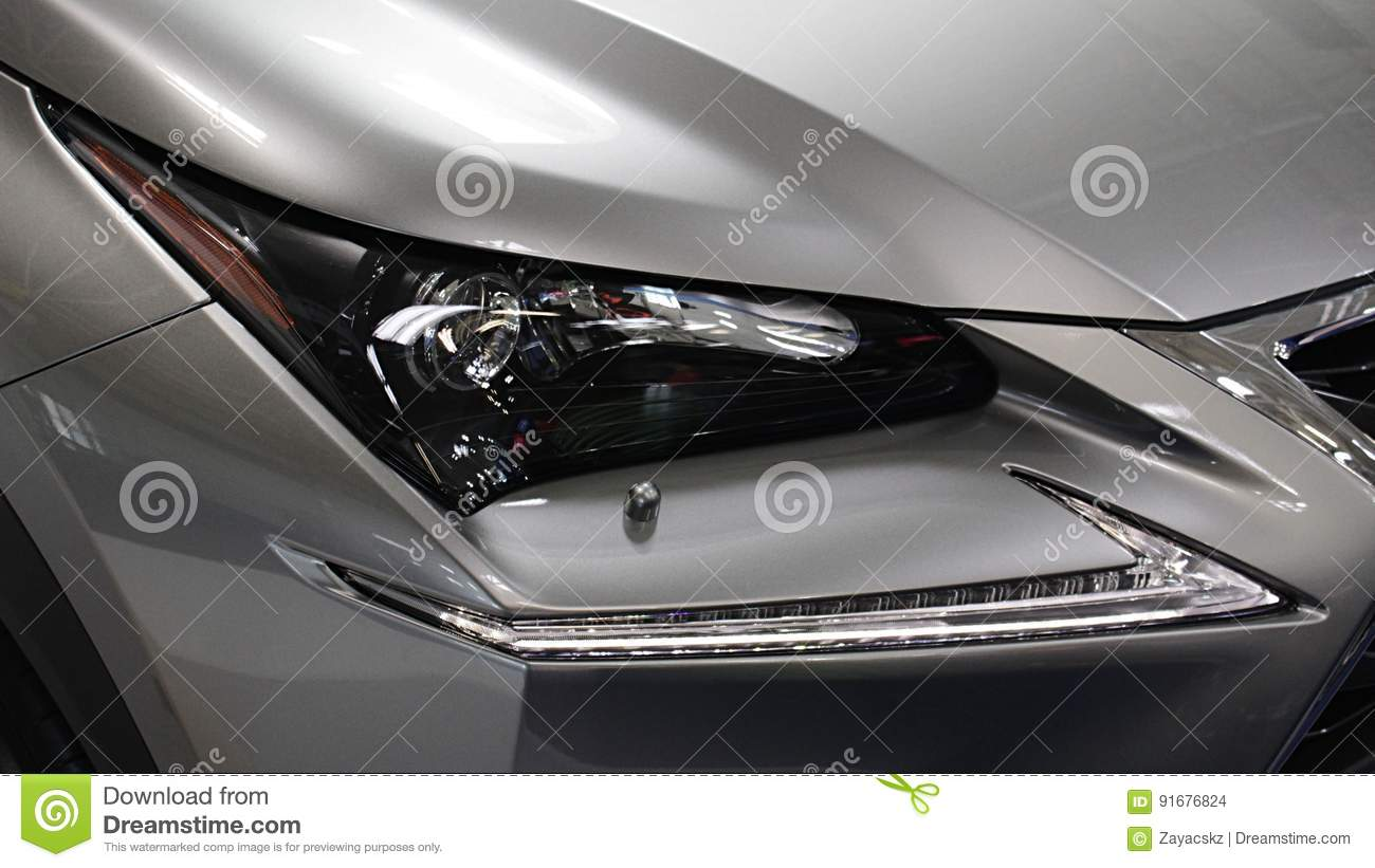 Headlight of modern luxurious japanese hybrid engine limousine
