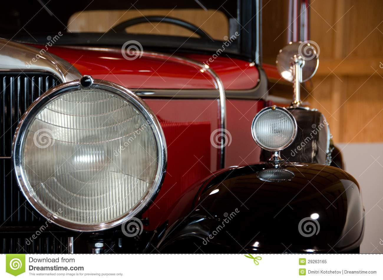Headlights And Mirrors Of An Antique Car Stock Image - Image of ...