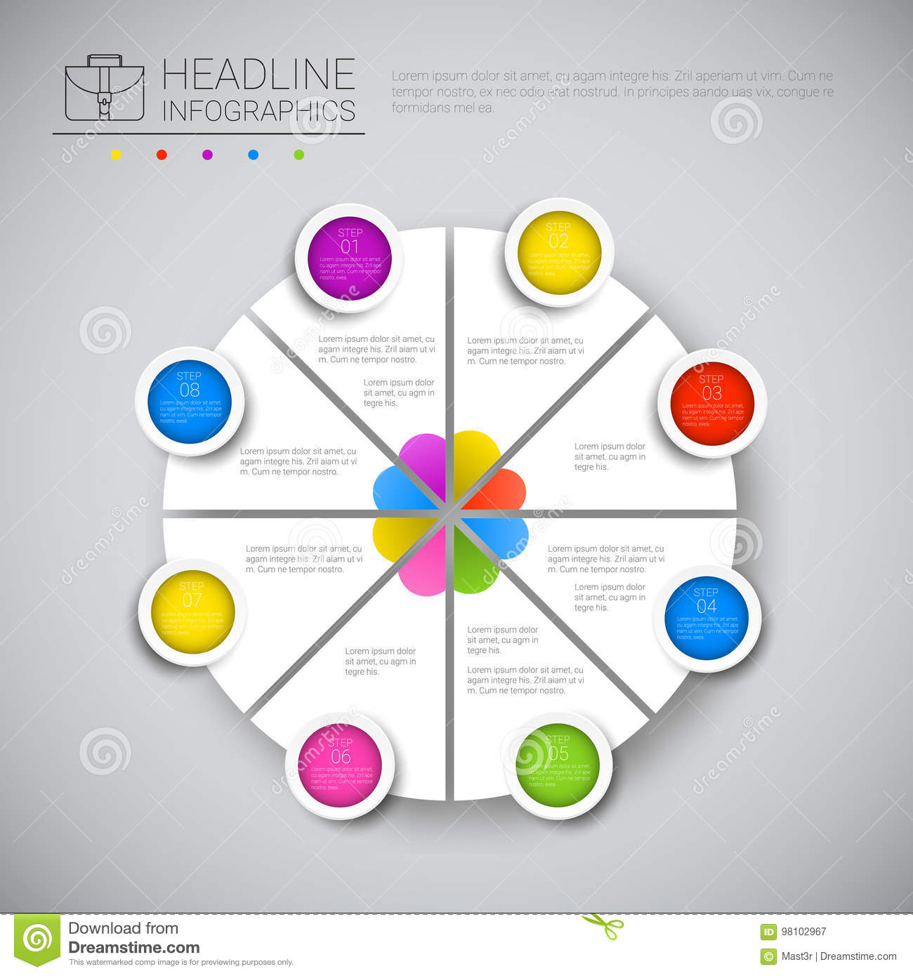 Headline Infographic Chart Pie Diagram Design Business