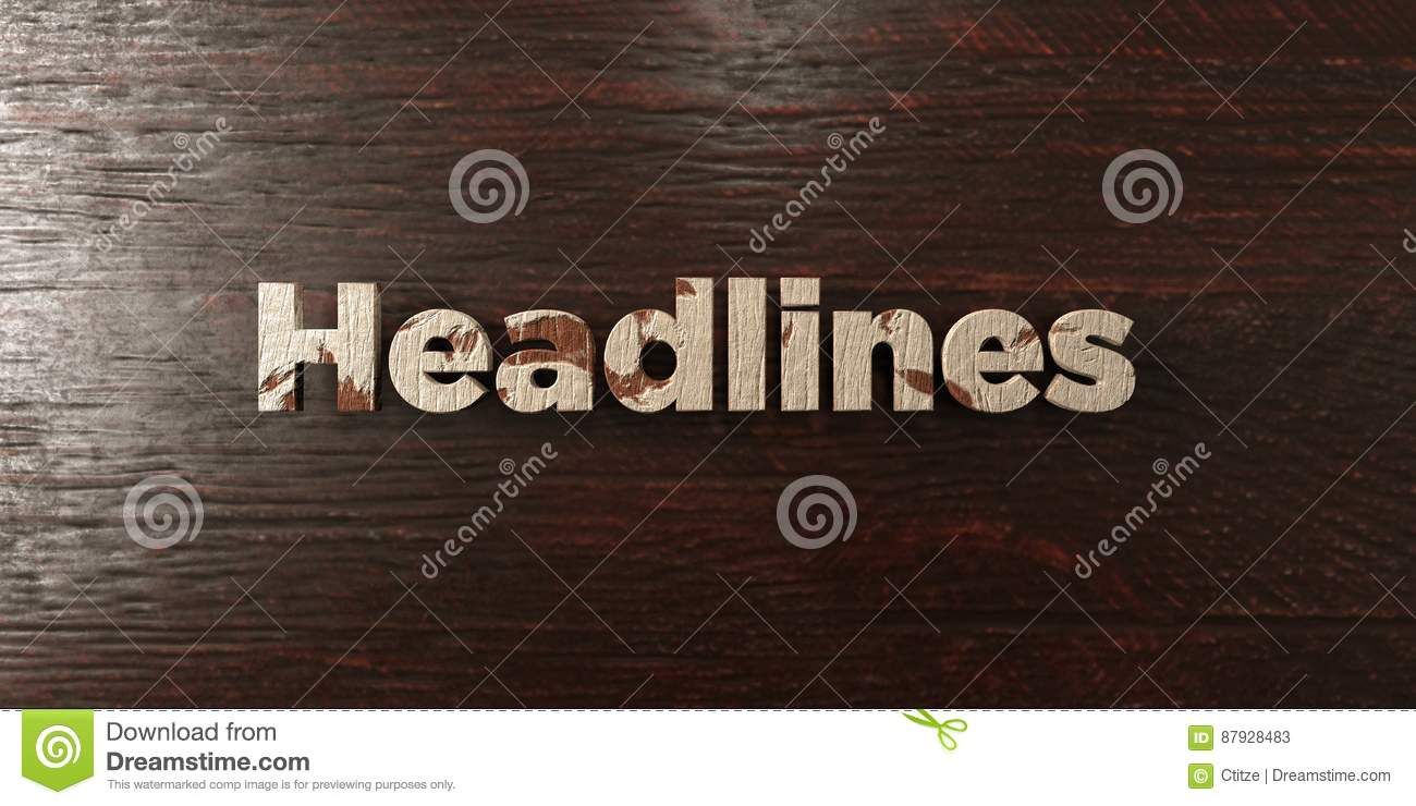 Headlines - grungy wooden headline on Maple - 3D rendered royalty free stock image