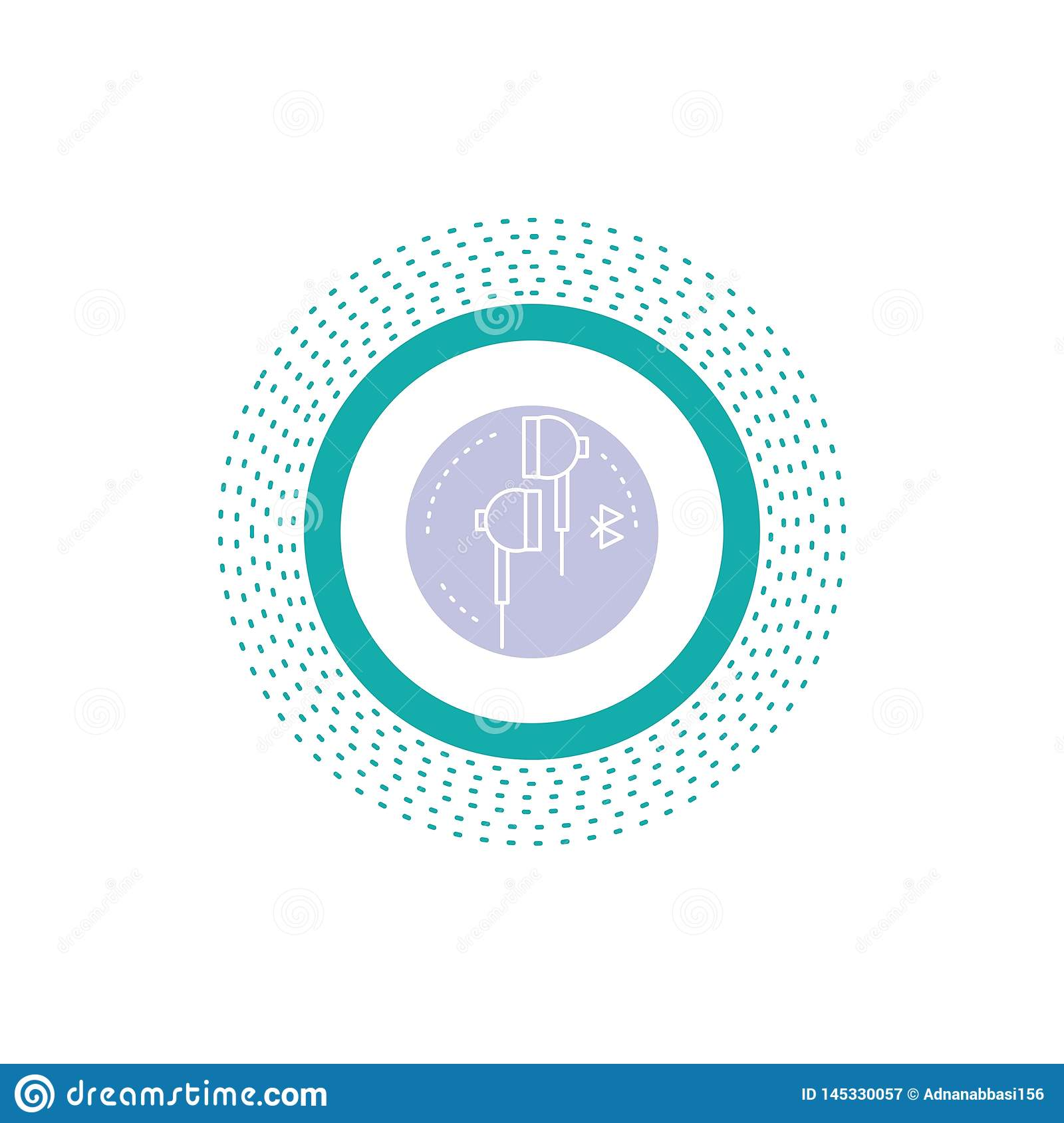 Headphone, ear, phone, bluetooth, music Glyph Icon. Vector isolated illustration