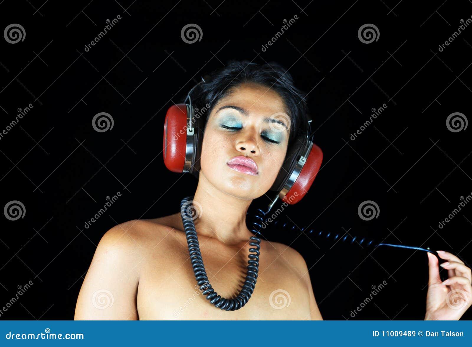 Headphone Girl Stock Image Image Of Deejay Face Sensual