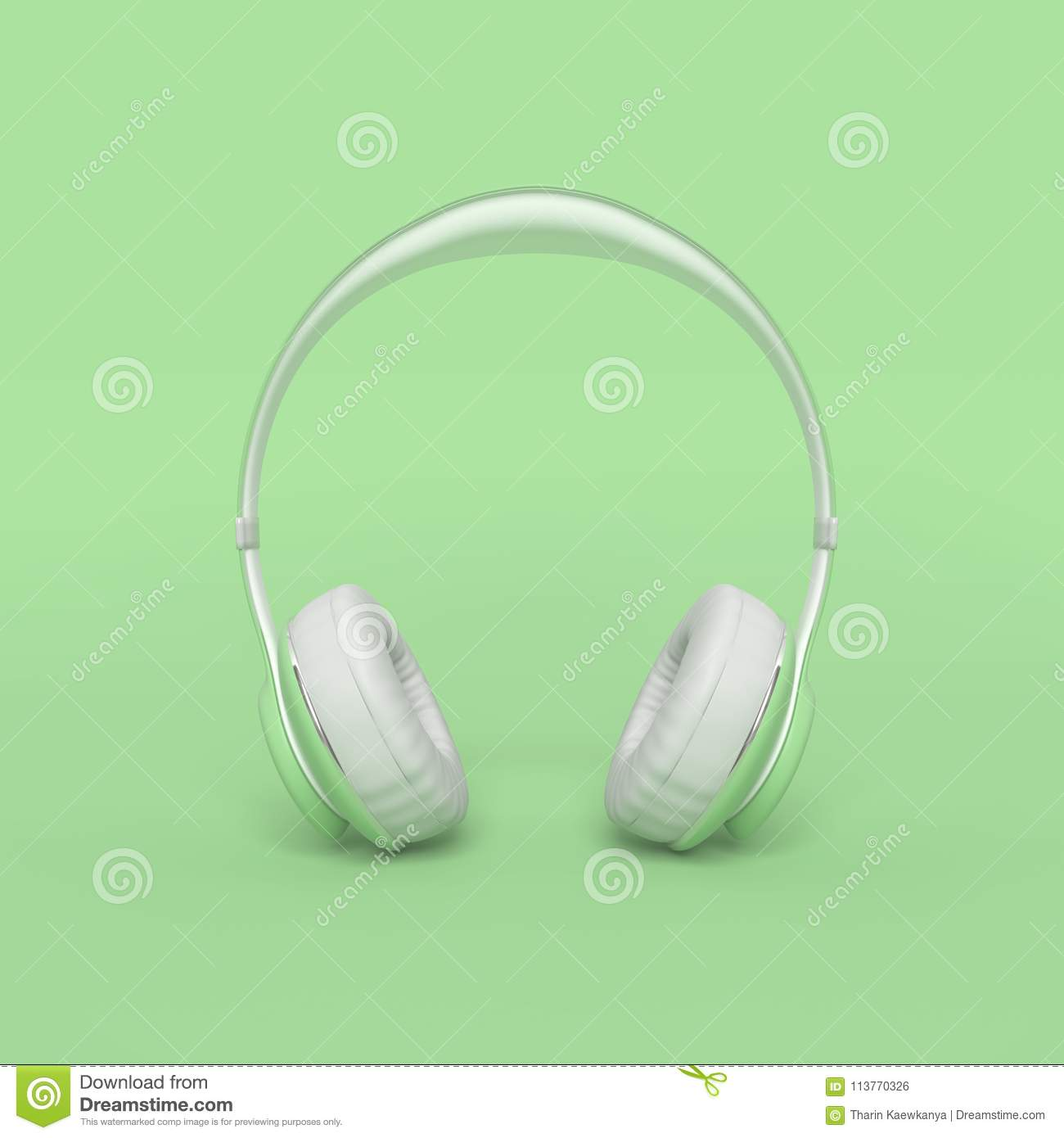Colorful Minimal Room: Headphone Green Color Minimal And Pastel Concept Stock