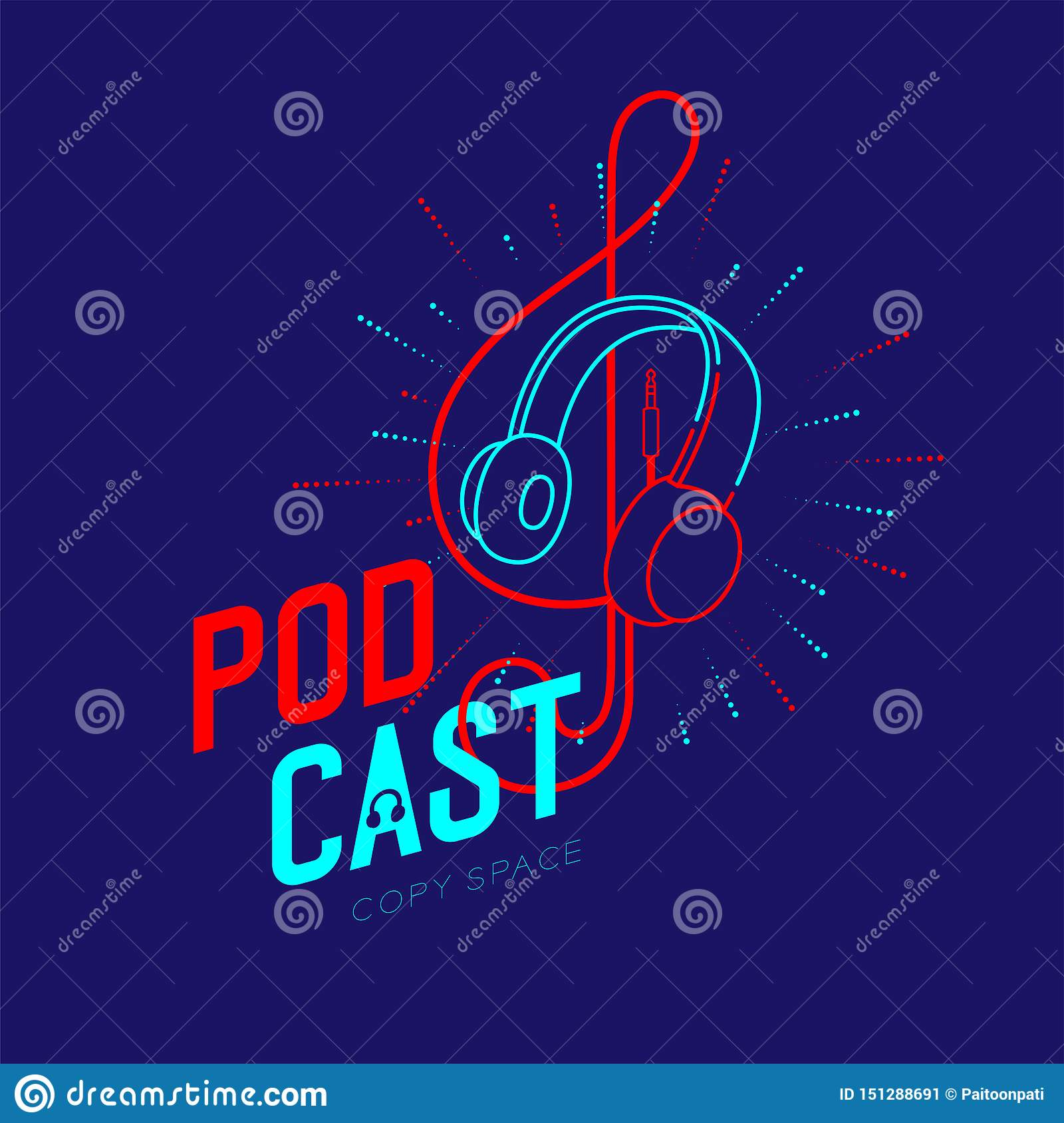 Headphone logo icon outline stroke with music note Treble Clef shape from cable dash line, Podcast internet radio program online