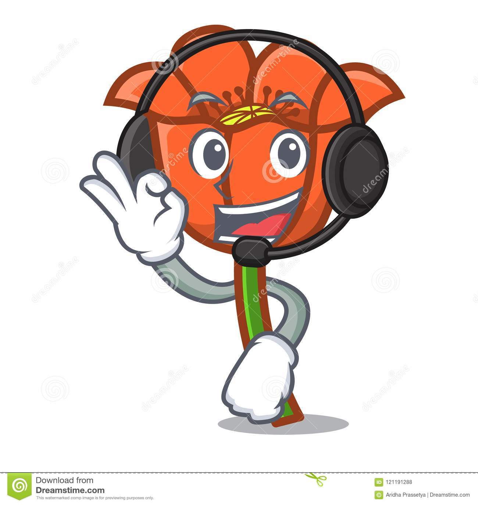With Headphone Poppy Flower Mascot Cartoon Stock Vector