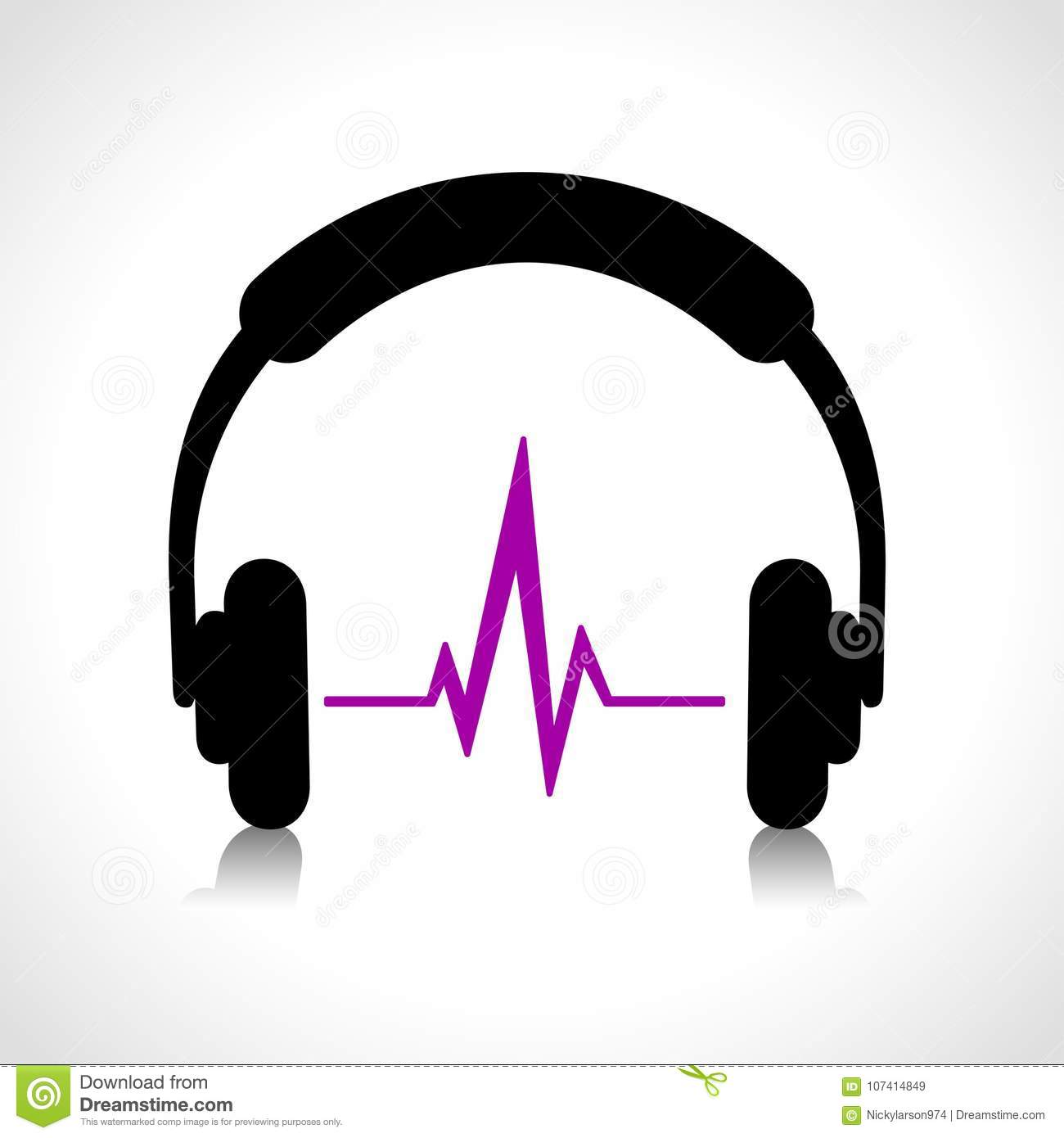 headphones abstract icon stock vector. illustration of design