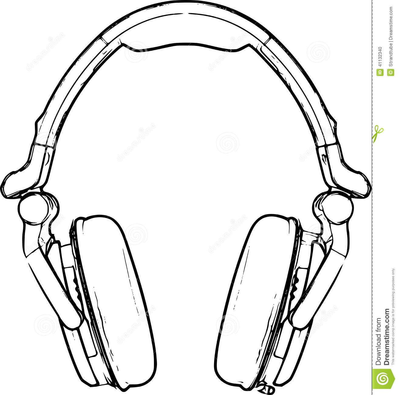 Line Art Headphones : Headphone sketch stock illustration image of isolated