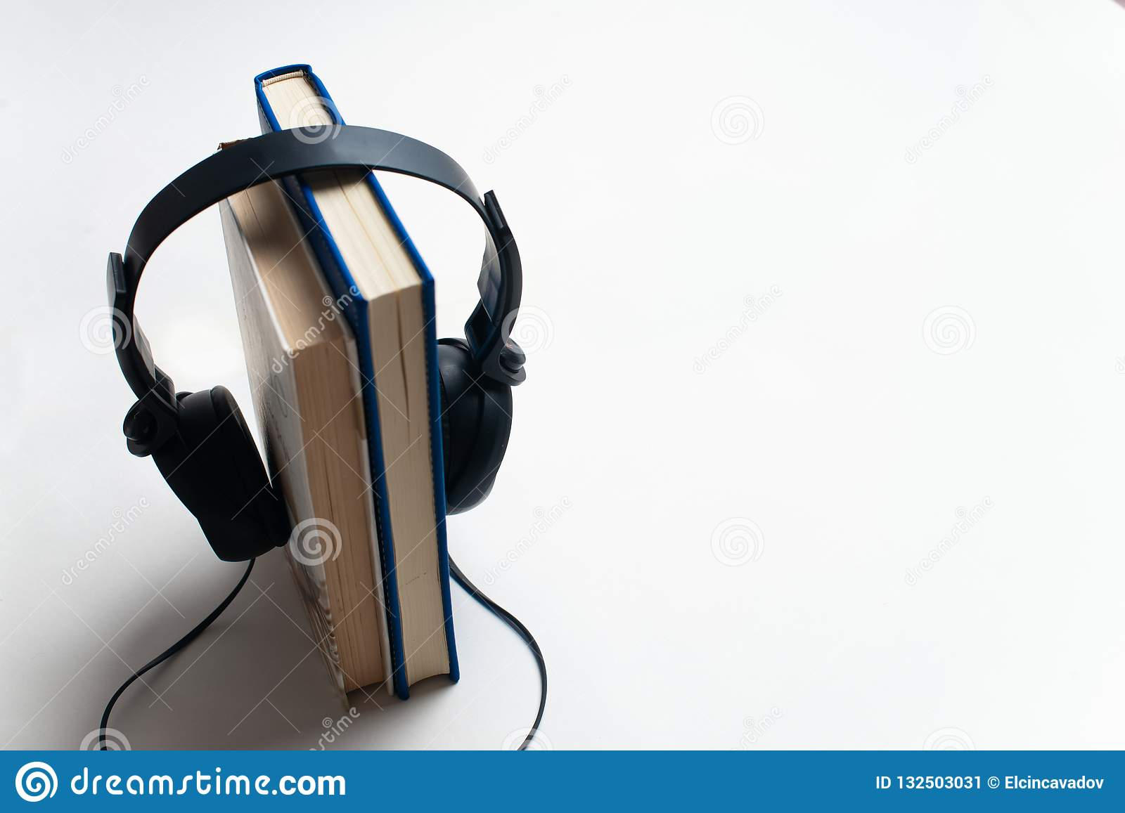 Headphones And Books Audiobook Concept, Headphones With Books Stock