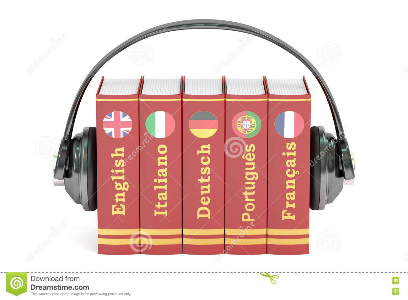 Headphones And Books, Languages Learning And Translate
