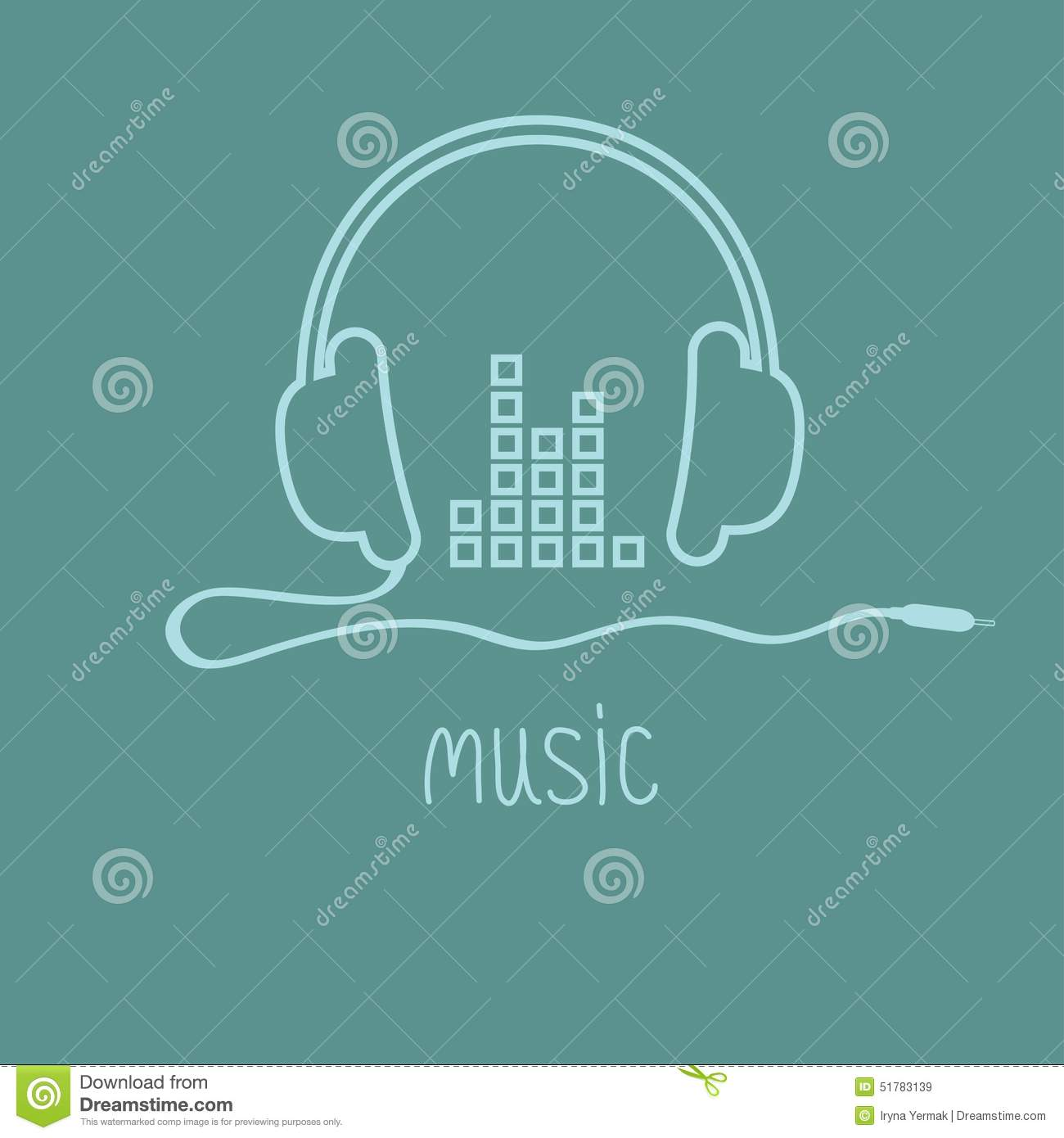 Headphones With Cord And Equalizer Word Music Background Card
