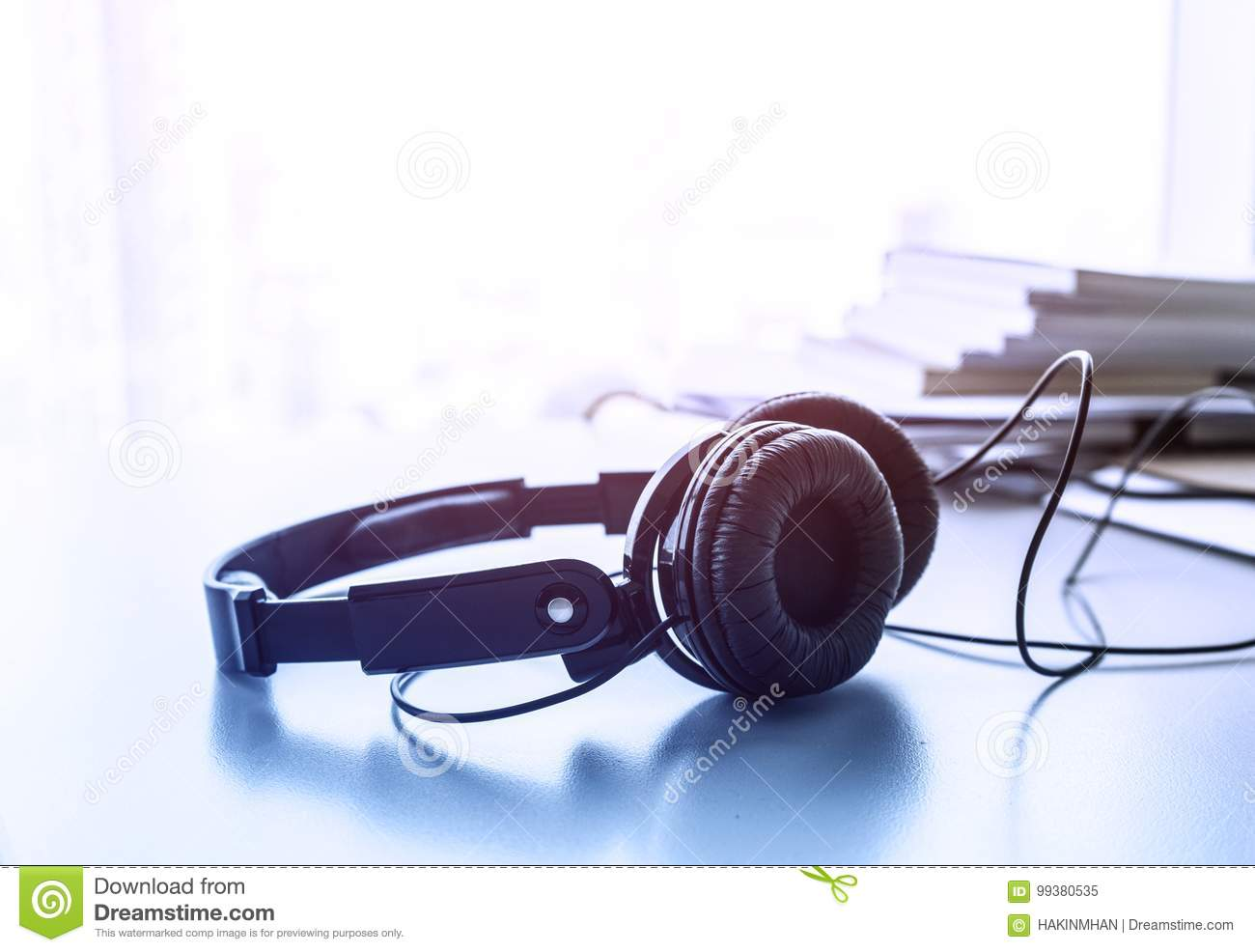 Office relaxation Comfy Headphones On Desk In Office For Relaxation Concept Dreamstimecom Headphones On Desk In Office For Relaxation Concept Stock Image