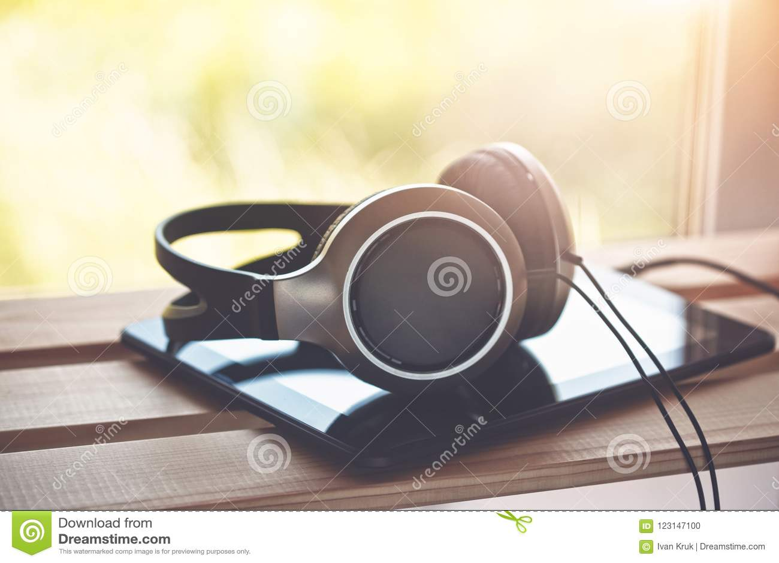 headphones with digital tablet computer