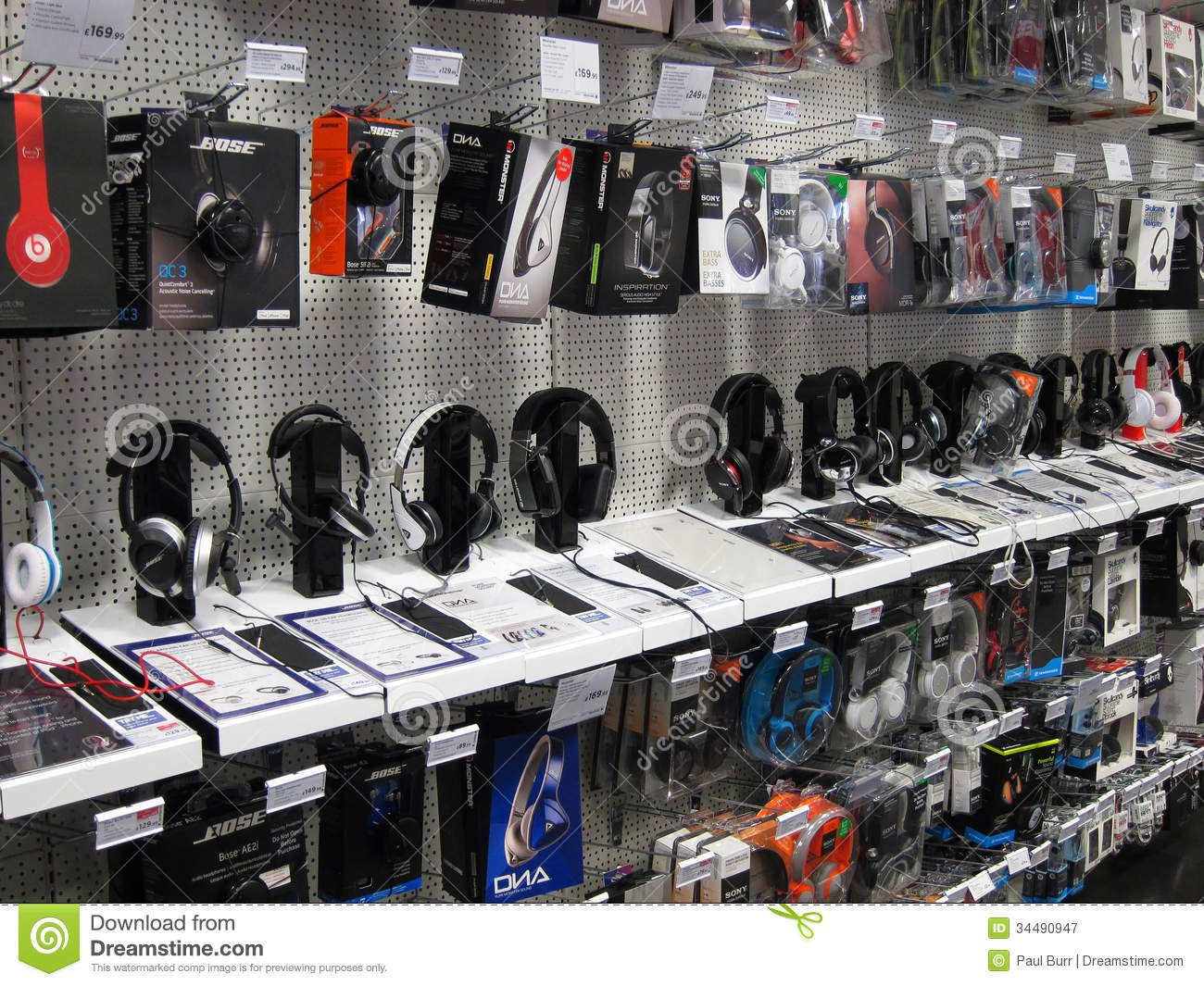 Headphones On Display In A Store Editorial Photography
