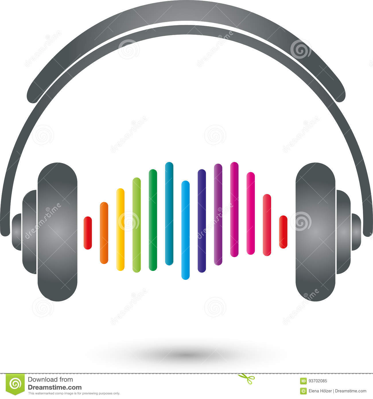 headphones and equalizer music and entertainment logo stock vector