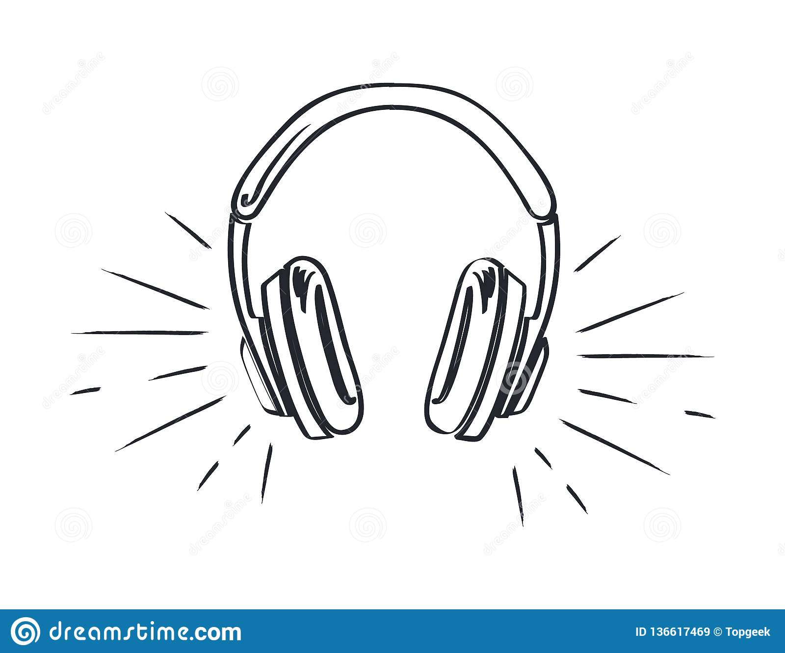 Headphones headset with music playing loud monochrome sketch outline vector line art colorless device listen to sounds stereo audio accessory with cable