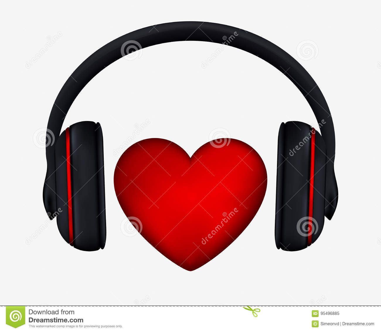 Headphones And Heart Concept For Love Listening To Music Stock