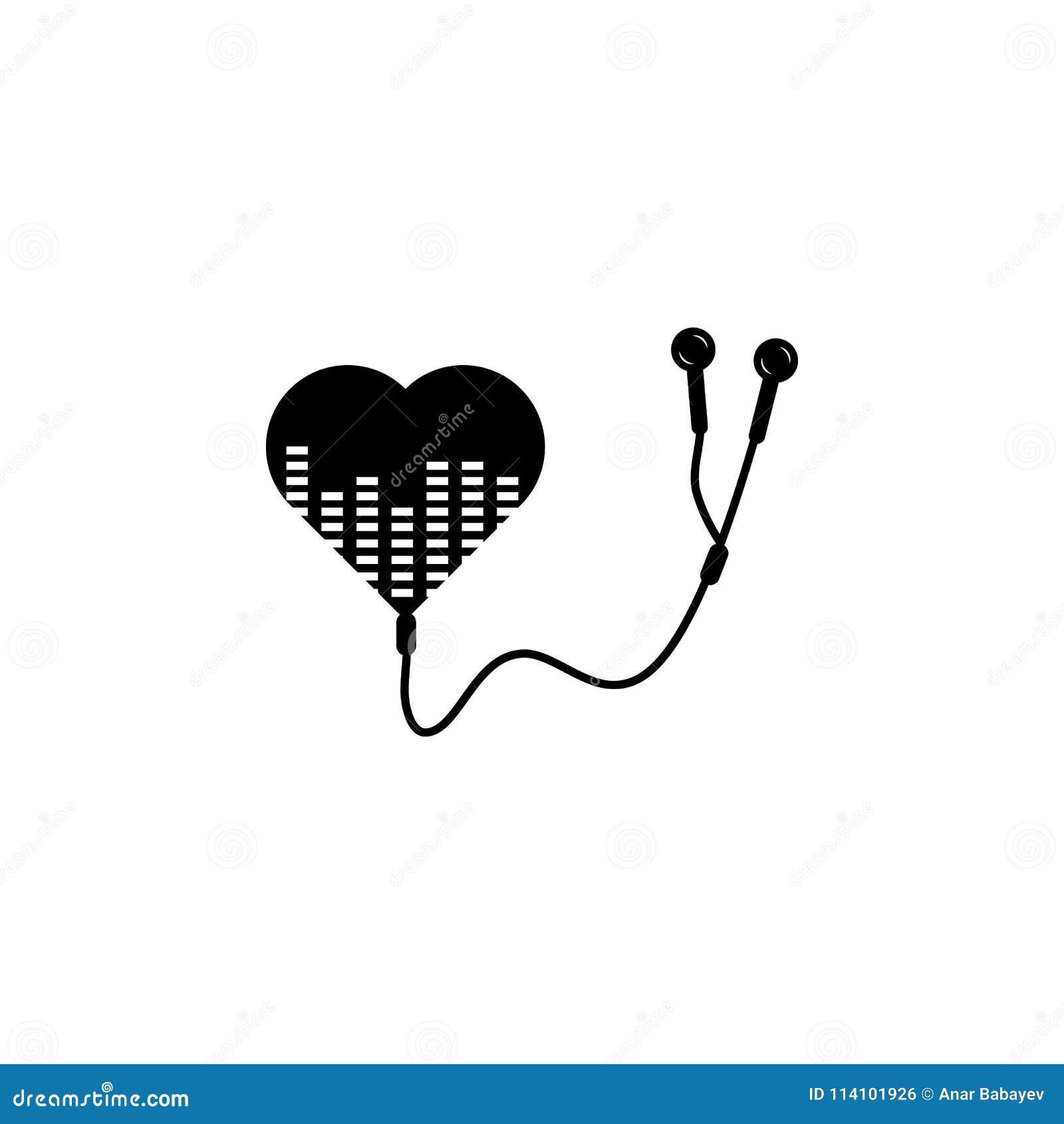 Headphones And Heart Icon Element Of Music Icon Premium Quality