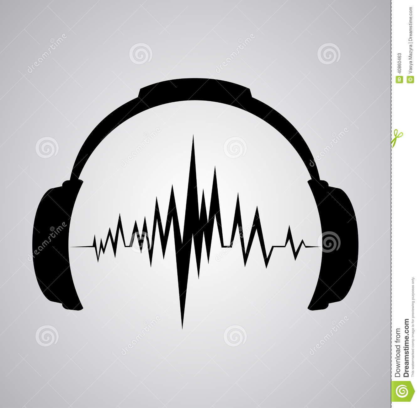 Headphones Icon With Sound Wave Beats Stock Vector Image
