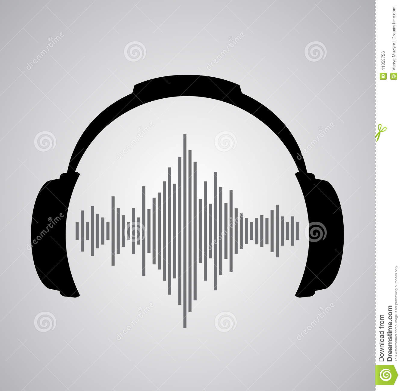 Headphones Icon With Sound Wave Beats Stock Illustration