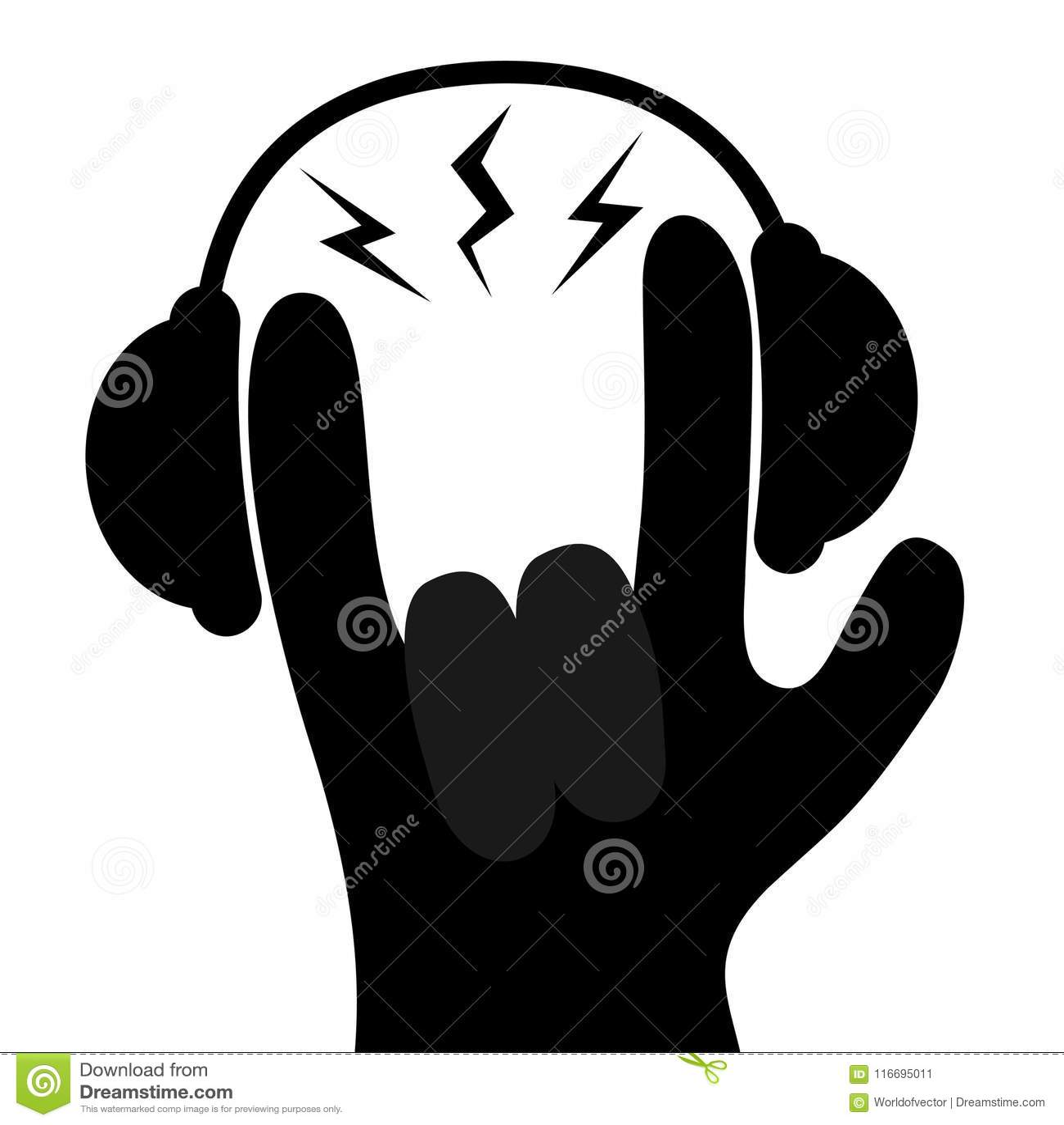 Headphones Lightning Light Hand Finger Black Silhouette Shape Icon