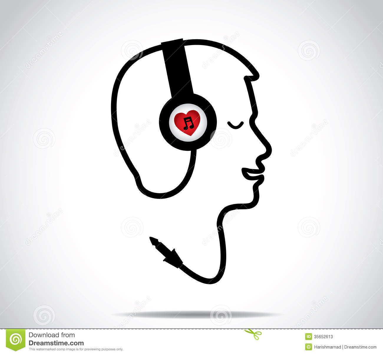 Headphones With Love Music Symbol And Its Chord Shaped In The Form