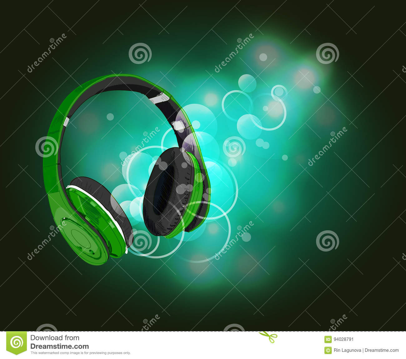 headphones with magic of music. green headphones and green abstract