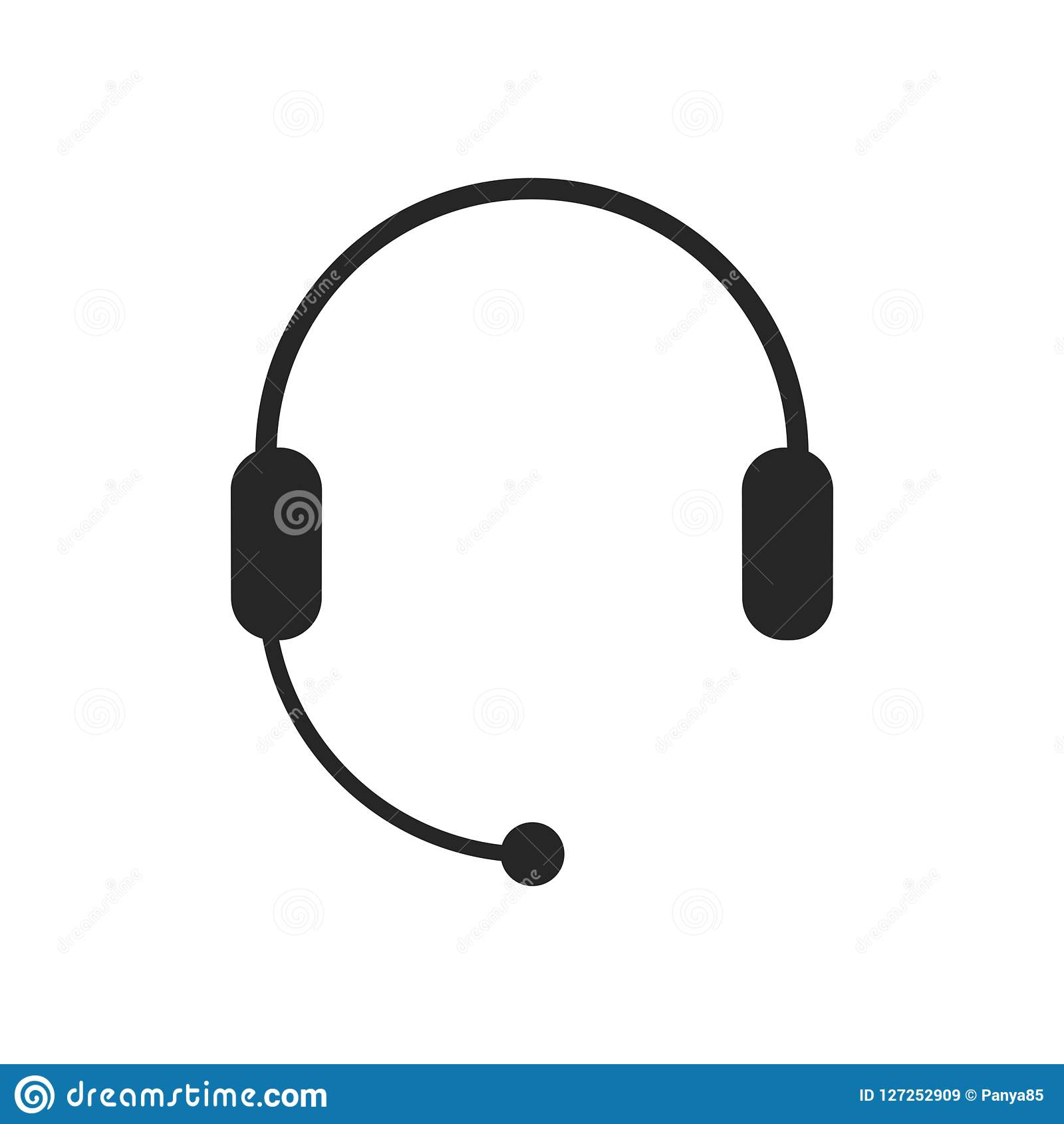 Headphones with microphone, headset icon. Support, Call center, Customer service symbol. Chat sign