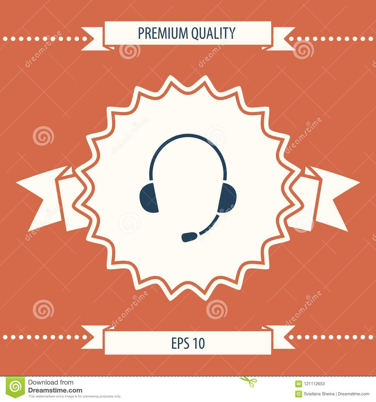headphones with microphone icon   signs and symbols - graphic elements for  your design