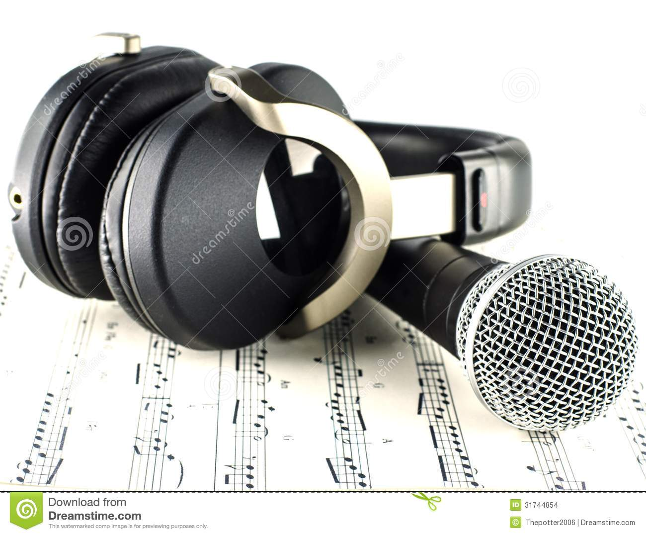 Headphones Music Notes: Headphones And Microphone Stock Photo. Image Of Disc