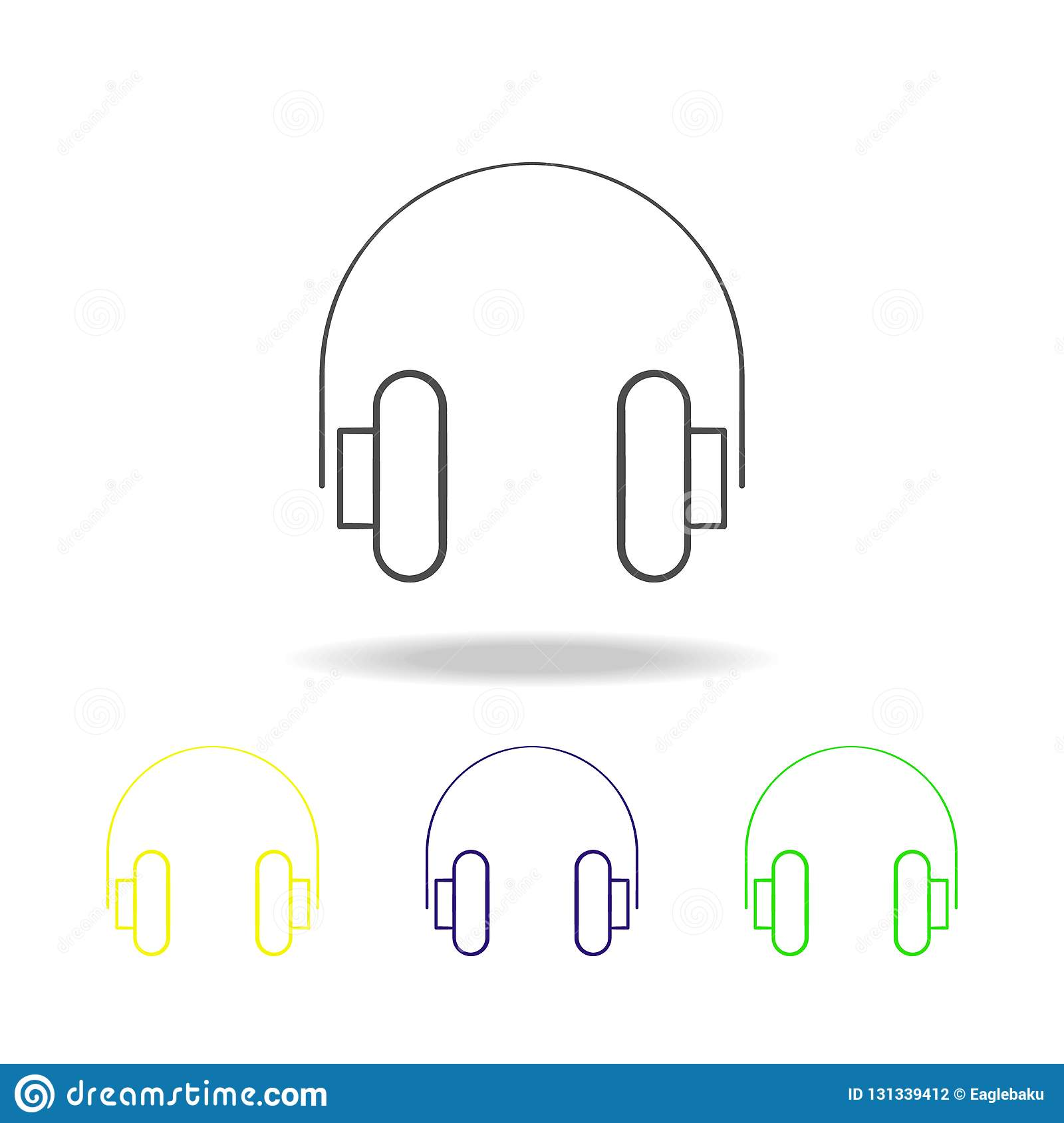 Headphones Multicolored Icons  Element Of Electrical Devices