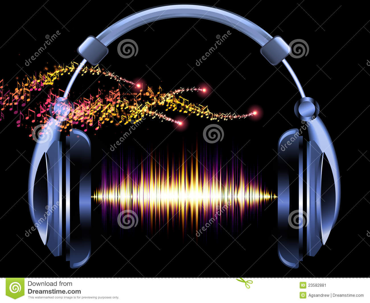 Headphones Music Notes: Headphones Of Music Stock Image. Image Of Sound
