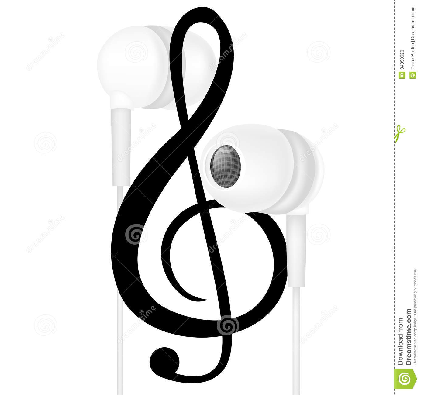 Headphones And Music Note Isolated Stock Vector ...