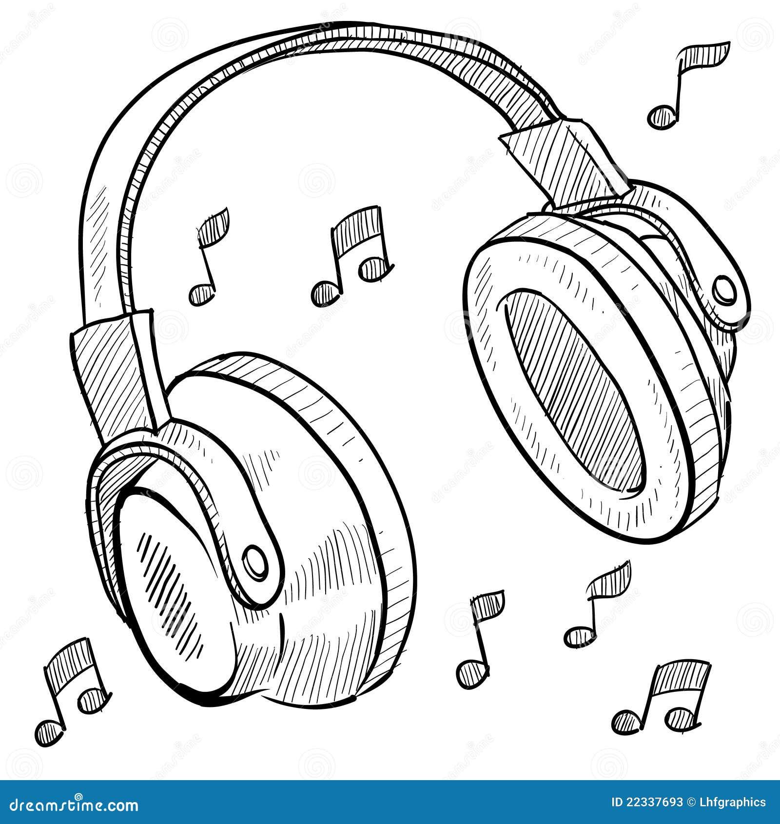Headphones Musical Sketch Stock Photos