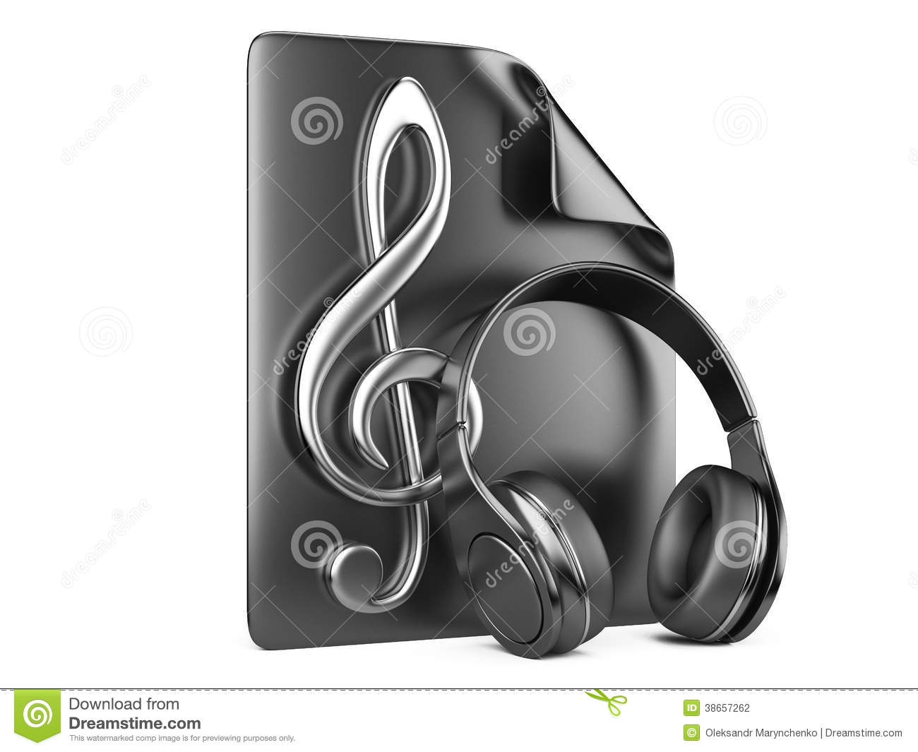 Headphones Music Notes: Headphones, Playlist And Notes Stock Photography
