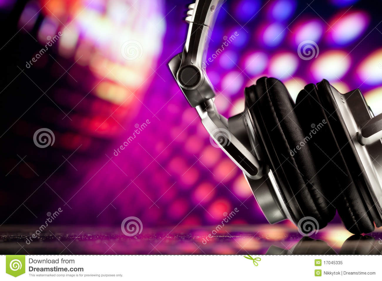 Headphones On Purple Background Royalty Free Stock Photo